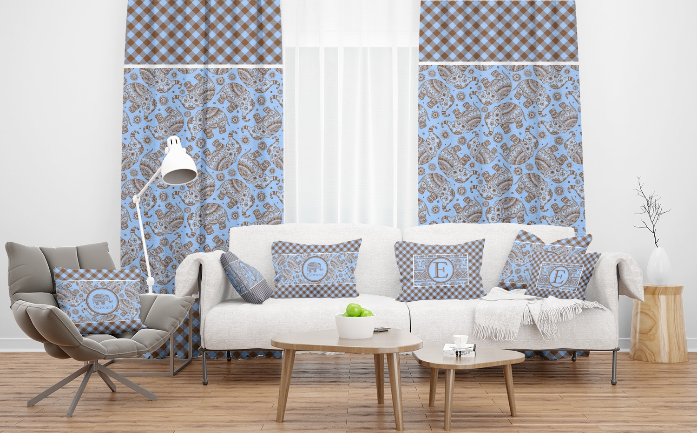 Gingham & Elephants Sheer Curtain