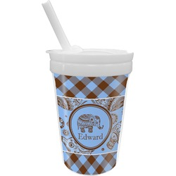 Gingham & Elephants Sippy Cup with Straw (Personalized)