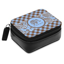 Gingham & Elephants Small Leatherette Travel Pill Case (Personalized)