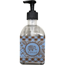 Gingham & Elephants Soap/Lotion Dispenser (Glass) (Personalized)
