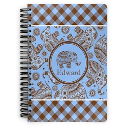 Gingham & Elephants Spiral Bound Notebook (Personalized)