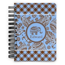 Gingham & Elephants Spiral Bound Notebook - 5x7 (Personalized)