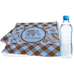 Gingham & Elephants Sports & Fitness Towel (Personalized)