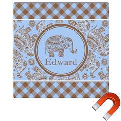 Gingham & Elephants Square Car Magnet (Personalized)