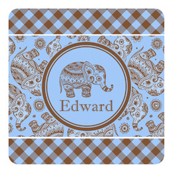 Gingham & Elephants Square Decal - Custom Size (Personalized)