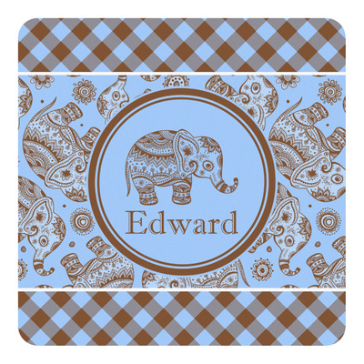 Gingham & Elephants Square Decal (Personalized)