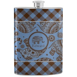 Gingham & Elephants Stainless Steel Flask (Personalized)