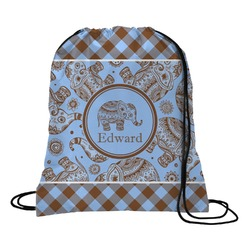 Gingham & Elephants Drawstring Backpack (Personalized)