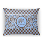 Gingham & Elephants Rectangular Throw Pillow Case (Personalized)