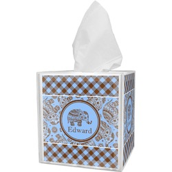 Gingham & Elephants Tissue Box Cover (Personalized)