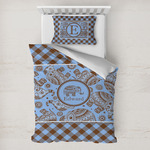 Gingham & Elephants Toddler Bedding w/ Name or Text