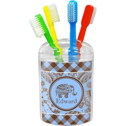 Gingham & Elephants Toothbrush Holder (Personalized)