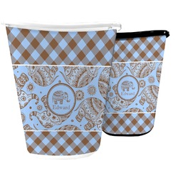 Gingham & Elephants Waste Basket (Personalized)