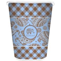 Gingham & Elephants Waste Basket - Double Sided (White) (Personalized)