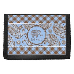 Gingham & Elephants Trifold Wallet (Personalized)