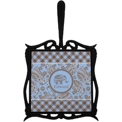 Gingham & Elephants Trivet with Handle (Personalized)