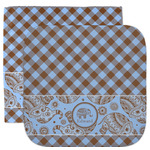 Gingham & Elephants Facecloth / Wash Cloth (Personalized)