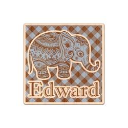 Gingham & Elephants Genuine Wood Sticker (Personalized)
