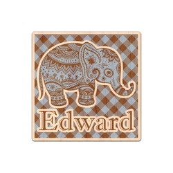 Gingham & Elephants Genuine Maple or Cherry Wood Sticker (Personalized)