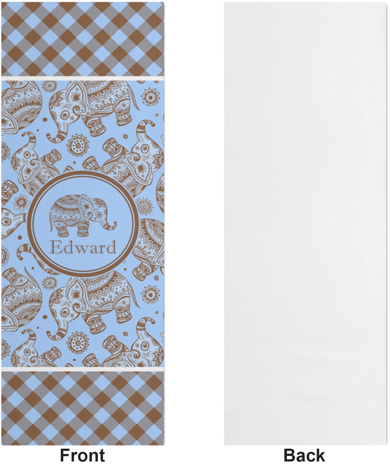 Gingham Amp Elephants Yoga Mat Printed Front Personalized