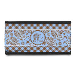 Gingham & Elephants Leatherette Ladies Wallet (Personalized)