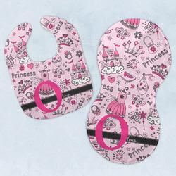 Princess Baby Bib & Burp Set w/ Name and Initial
