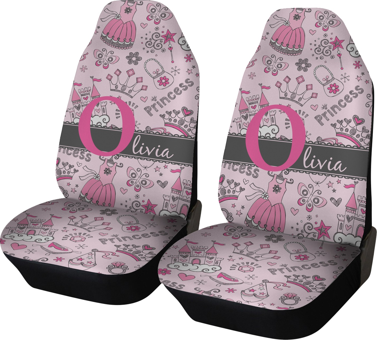 Princess Car Seat Covers Set Of Two Personalized