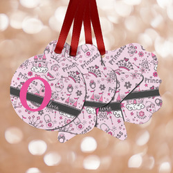 Princess Metal Ornaments - Double Sided w/ Name and Initial