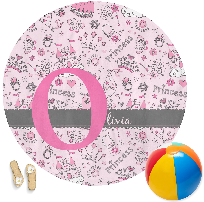Monogrammed Princess Beach Towel: Princess Round Beach Towel (Personalized)