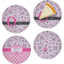 "Princess Set of 4 Glass Appetizer / Dessert Plate 8"" (Personalized)"
