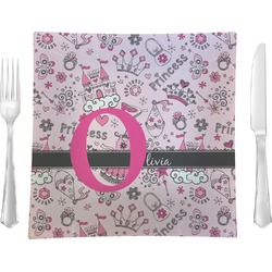 "Princess 9.5"" Glass Square Lunch / Dinner Plate- Single or Set of 4 (Personalized)"