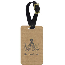 Octopus & Burlap Print Aluminum Luggage Tag (Personalized)