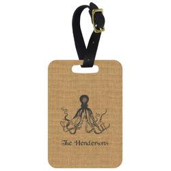 Octopus & Burlap Print Aluminum Luggage Tag (Personalized)