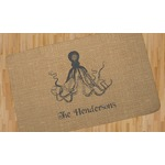 Octopus & Burlap Print Area Rug (Personalized)