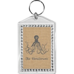 Octopus & Burlap Print Bling Keychain (Personalized)