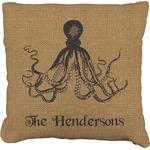 Octopus & Burlap Print Faux-Linen Throw Pillow (Personalized)