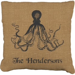 Octopus & Burlap Print Burlap Throw Pillow (Personalized)