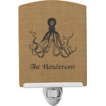 Octopus & Burlap Print Ceramic Night Light (Personalized)