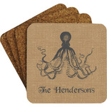 Octopus & Burlap Print Coaster Set w/ Stand (Personalized)