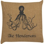 Octopus & Burlap Print Decorative Pillow Case (Personalized)