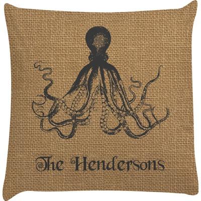 Octopus & Burlap Print Decorative Pillow Case (Personalized)