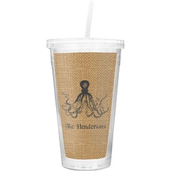 Octopus & Burlap Print Double Wall Tumbler with Straw (Personalized)