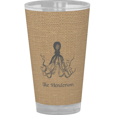 Octopus & Burlap Print Drinking / Pint Glass (Personalized)