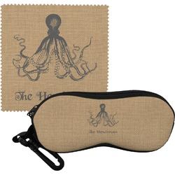 Octopus & Burlap Print Eyeglass Case & Cloth (Personalized)