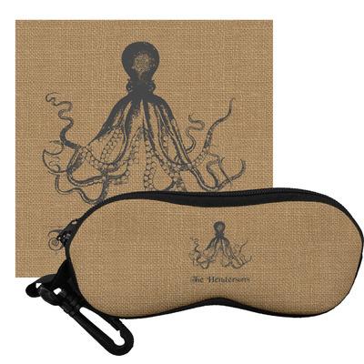 Octopus & Burlap Print Eyeglass Case & Cloth (Personalized)