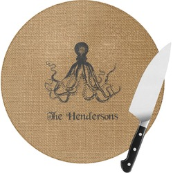 Octopus & Burlap Print Round Glass Cutting Board (Personalized)