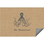 Octopus & Burlap Print Indoor / Outdoor Rug (Personalized)