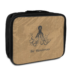 Octopus & Burlap Print Insulated Lunch Bag (Personalized)