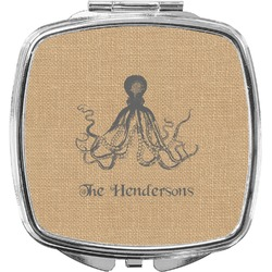 Octopus & Burlap Print Compact Makeup Mirror (Personalized)