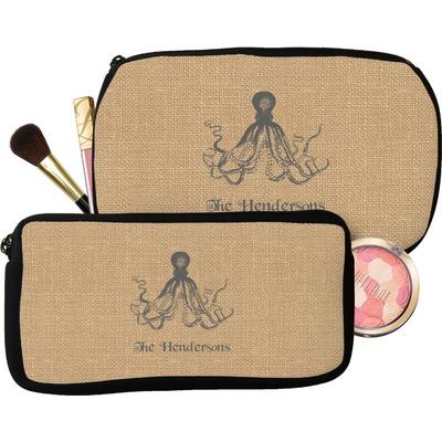 Octopus & Burlap Print Makeup / Cosmetic Bag (Personalized)